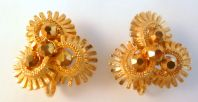 Vintage Jewelcraft Clip On Gold Spoke Earrings.